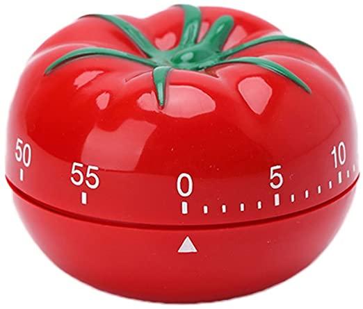 "A ""pomodoro"" kitchen timer shaped like a tomato sliced in half horizontally"